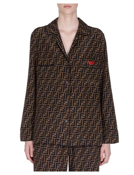 Logo Print Button Front Pajama Shirt by Fendi