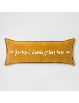 'grateful Hearts' Embroidered Velvet Oversized Lumbar Throw Pillow Gold   Threshold™ by Threshold™