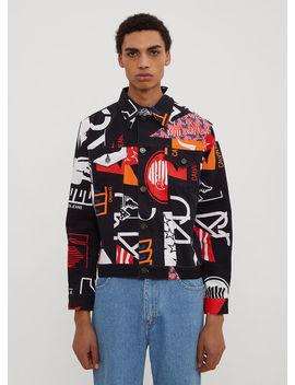 American Print Denim Jacket In Black by Calvin Klein Est 1978