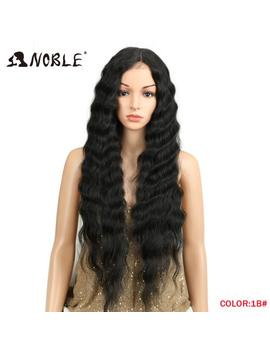 Noble Long Black Wig Deep Wave High Temperature Fiber Middle Part 30 Inch 150 Percents Heavy Density Lace Front Synthetic Wigs For Women by Noble
