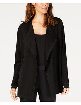 Draped Long Sleeve Cardigan by Anne Klein