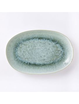 "Reactive Glaze 14"" Medium Platter   Dusty Mint by West Elm"