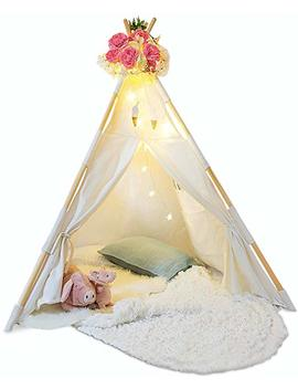Kids Teepee Tent For Kids   With Fairy Lights    Feathers & Waterproof Base by Tazz Toys