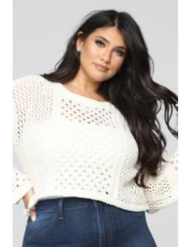 Open Minded Cropped Sweater   Cream by Fashion Nova