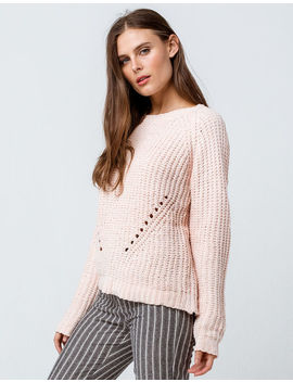 Poof Pointelle Peach Womens Chenille Sweater by Poof
