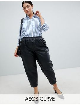 Asos Design Curve Leather Look Jogger by Asos Design