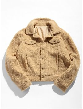 Zaful Snap Button Pocket Fluffy Jacket   Camel Brown S by Zaful