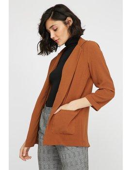 Open Front Longline Pocket Blazer by Urban Planet
