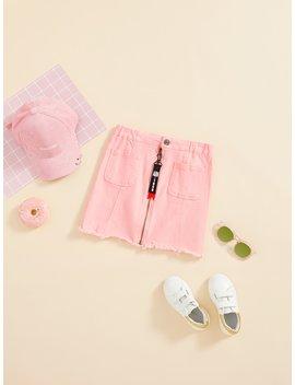 Girls Zipper & Pocket Front Frayed Denim Skirt by Shein