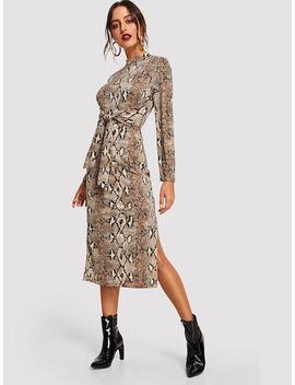 Mock Neck Snake Print Dress by Shein