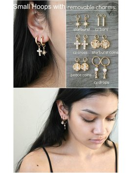 Gold Hoops, 14k Gold Filled Small Earrings With Removable Charms: Starburst, Cross, Cubic Zirconia Bar, Peace Sign, Hammered Coin,Cz Drop by Etsy