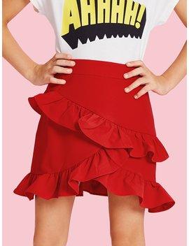 Girls Asymmetrical Tiered Ruffle Trim Skirt by Shein