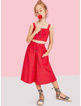 Girls Button Up Crop Top & Pocket Front Skirt Set by Shein