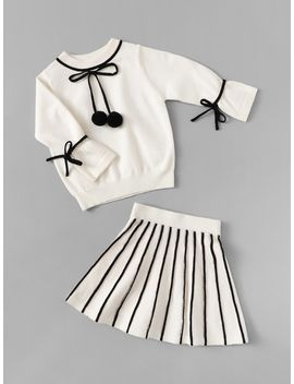 Girls Pompom Tied Knit Top & Flare Skirt Set by Shein