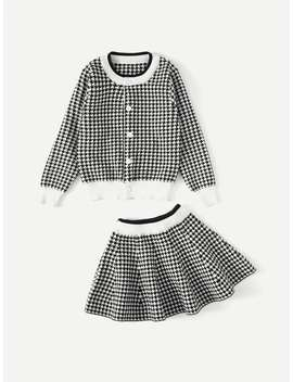 Girls Contrast Trim Houndstooth Jacket With Skirt by Sheinside