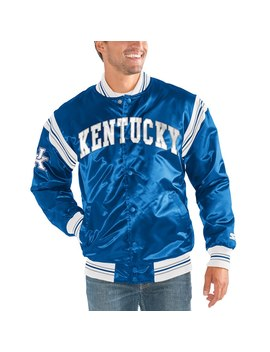 Kentucky Wildcats Starter The Enforcer Satin Full Button Jacket – Royal by Starter