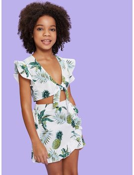 Girls Ruffle Detail Knot Tropical Top & Skirt Co Ord by Shein