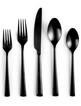 Black 20 Piece Flatware Set, Created For Macy's by Hotel Collection