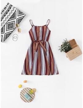 Girls Vertical Striped Button Detail Cami Dress by Shein