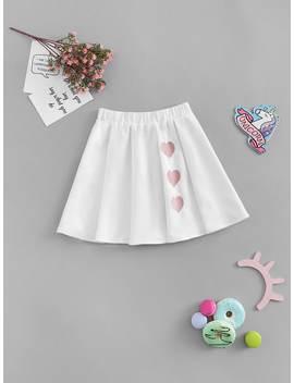 Girls Three Heart Print A Line Skirt by Shein
