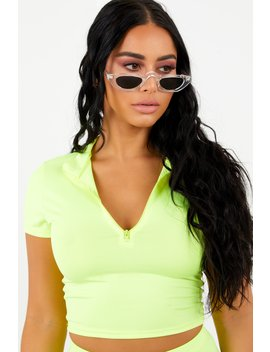Sorella Athletic Zip Top   Neon Yellow by Sorella