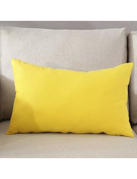 """Taoson Decorative 100 Percents Cotton Canvas Square Solid Toss Pillowcase Cushion Cover Pillow Case With Hidden Zipper Closure Only Cover No Insert   Yellow 12""""X20""""(30x50cm) by Taoson"""