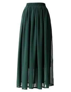 Darkgreen Pleated Maxi Skirt by Chicwish