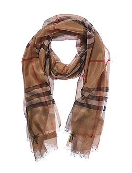 Burberry Metallic Check Wool &Amp; Silk Blend Scarf by Burberry