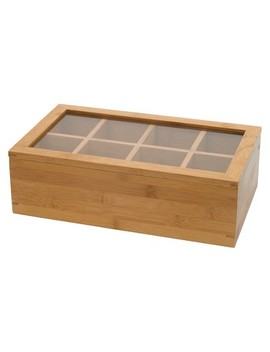 Lipper International Bamboo 8 Compartment Tea Box With Acrylic And Bamboo Lid by Lipper International