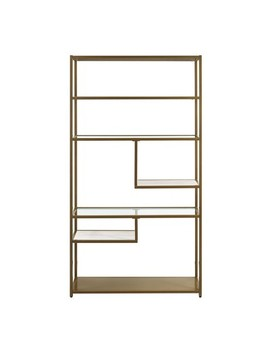 "Eos Geometric Bookcase Etagere 72"" Brass   Dorel Living by Shop This Collection"