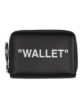 Black Quote Zip Wallet by Off White