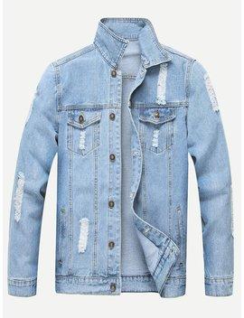 Men Ripped Solid Denim Jacket by Romwe