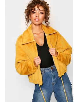 Super Soft Faux Fur Collared Jacket by Boohoo