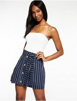 Striped Button Up Paperbag Skirt by Charlotte Russe