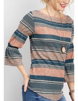 Stripe Wide Neck Bell Sleeve Top by Maurices