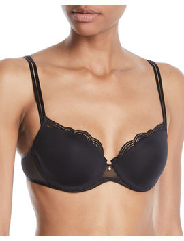 Pyramide Lace Trim Smooth Demi Bra by Chantelle