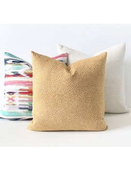 Golden Ochre Yellow Chenille Confetti Polka Dot Decorative Throw Pillow Cover by Etsy