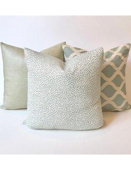 Aqua Blue Green Confetti Polka Dot Decorative Throw Pillow Cover by Etsy
