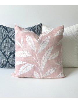 Blush Pink And White Modern Leaf Print Decorative Pillow Cover by Etsy