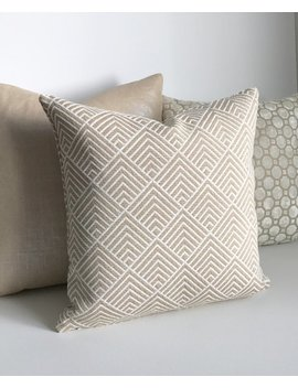 White And Beige Chenille Triangle Chevron Geometric Decorative Pillow Cover by Etsy