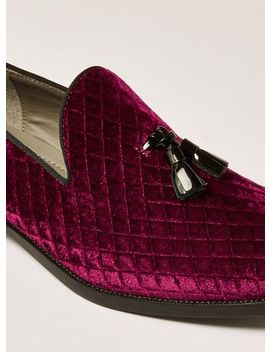 Burgundy Faux Suede Rana Quilted Loafers by Topman