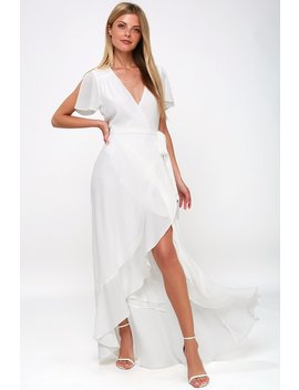 Magic Moment White Wrap Maxi Dress by Lulus