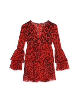 Ruffled Jaguar Mini Dress by Tom Ford