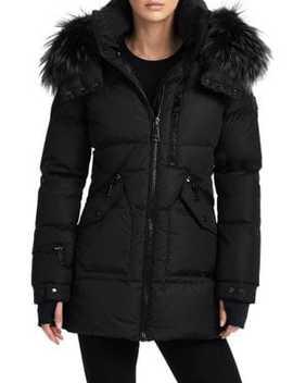 Fox Fur Trim Cruiser Puffer Jacket by Sam.