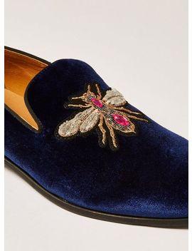 Navy Velvet Tucker Badge Loafers by Topman
