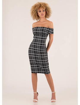 Intersection Plaid Off Shoulder Dress by Go Jane