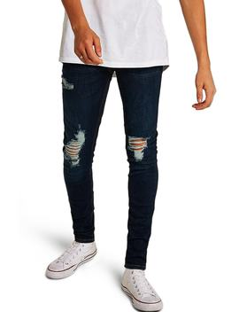 Skinny Fit Ripped Spray On Jeans by Topman