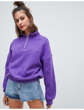 Pull&Bear Zip Front Long Sleeved Sweat by Pull&Bear