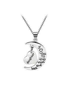 Jiang Yan Us Mother's Day Gifts For Mom Half Moon And Heart Mom I Love You To The Moon And Back Pendant Necklace by Jiang Yan Us