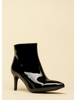This Point Forward Faux Patent Booties by Go Jane
